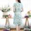 เดรสทรงซาร่าผ้ามิลินลายดอก + แถมผ้าคาดเอว ซิปซ้อนด้านหลัง(ซับในไฮเกรดทั้งชุด) thumbnail 3