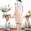 เดรสผ้าไหมอิตาลี่ลายดอกไม้ + กระโปรงโอซาก้า ซิปซ้อนด้านหลัง(ซับในไฮเกรดทั้งชุด) thumbnail 3