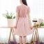 เดรสผ้าชีฟองแต่งลูกไม้ดอกที่อก+ กระโปรงผ้าใหมอิตาลี่ลายจุด สม๊อคหลัง(ซับในไฮเกรดทั้งชุด) thumbnail 3