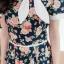 เดรสผ้าแคนวาสลายดอก + แต่งโบว์ที่คอ ซิปหลัง(ซับในไฮเกรดทั้งชุด) thumbnail 2