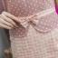 NEW เดรสผ้าแคนวาสลายจุด ตัดต่อกระโปรงผ้าcottonทอลายสก๊อต ซิปซ้อนด้านหลัง(ซับในไฮเกรดทั้งชุด) thumbnail 2