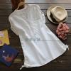 pre634 (งานแพทเทิร์น) เสื้อแฟชั่น คอวีแขนสั้น กระเป๋าเจาะ