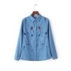 P00214 เสื้อเชิ้ตแขนยาว ผ้ายีนส์เนื้อบางแต่งงานปัก สีฟ้า