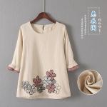 P69101 เสื้อแฟชั่นแขนสามส่วน ผ้าฝ้ายเนื้อดี สีน้ำตาลอ่อน สกรีนดอกไม้