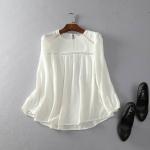 P459083 เสื้อชีฟองแขนยาว สีขาว
