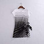 P52207 เสื้อตัวยาว ผ้ายืดสแปนเดกซ์เนื้อดี สีขาวริ้วดำ