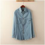 P18214 เสื้อเชิ้ตแขนยาว ผ้ายีนส์เนื้อดี สีน้ำเงิน ชายรุ่นเก๋มาก ๆ