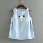 pr1663 เสื้อแขนกุด ผ้าฝ้ายเนื้อดี พิมพ์ลายหมี สีฟ้า