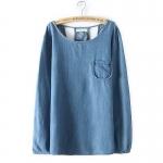 P1215 เสื้อแขนยาว ผ้ายีนส์เนื้อดีทรงหลวม สีฟ้า สีน้ำเงิน
