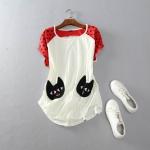 P53008 เสื้อยืดทรงหลวม ผ้ายืดคอทตอนเนื้อดี สีขาว ต่อผ้าสีแดง กระเป๋ารูปแมว