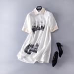 P61401 ชุดเดรสทรงปล่อย ผ้าชีฟองเนื้อดี สีขาว S M L