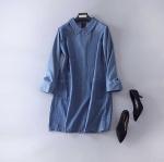 P61261 ชุดเดรสทรงปล่อย คอปก ผ้ายีนส์เนื้อดี สีน้ำเงิน ซิบหลัง