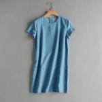 p93009 ชุดเดรสทรงปล่อย ผ้ายีนส์เนื้อบาง สีน้ำเงิน ซิบหลัง