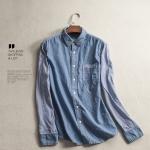 P35112 เสื้อเชิ้ตตัวยาว ผ้ายีนส์เนื้อดี สีฟ้า แขนริ้ว