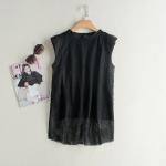 P64307 เสื้อแฟชั่นแขนกุด ผ้าตาข่ายเนื้อดี สีดำ