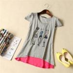 pr1261 เสื้อแฟชั่น ผ้ายืดคอทตอนเนื้อนิ่มแขนล้ำ สีเทา สกรีนลายตุ๊กตา ชายตัดต่อผ้าชีฟอง