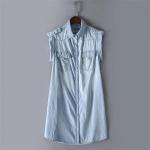 pr1690 เสื้อเชิ้ตตัวยาว แขนล้ำ ผ้ายีนส์