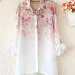 pr1590 เสื้อแฟชั่น แขนยาวปกเชิ้ต ผ้าชีฟองพิมพ์ลายดอกไม้
