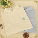 pre820 (preorder) เสื้อเชิ้ตแขนยาว ผ้าฝ้ายเนื้อดี สีขาว สีฟ้า size SML