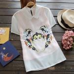 pr1134 เสื้อแฟชั่น ชั้นในผ้าฝ้ายเนื้อดี คอปกแขนสั้น ชั้นในเสื้อกล้ามเป็นชีฟองสีชมพู ด้านหน้าแต่งด้วยงานปักดอกไม้