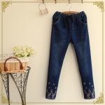 pre835 (Preorder) กางเกงยีนส์ขายาว เอวรูด แต่งงานปัก M L XL