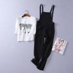 P58212 Set เสื้อยืด + เอี๊ยมกางเกง สีดำ