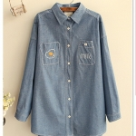P10232 (preorder) เสื้อเชิ้ตแขนยาวทรงโอเวอร์ไซส์ ผ้าฝ้ายเนื้อดีปักหน้าอก สีฟ้า