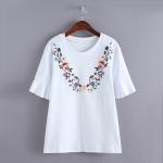 P60201 เสื้อแฟชั่น ผ้ายืดคอทตอนเนื้อนิ่ม สีขาว แขนระบายปักดอกไม้