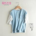 P42121 เสื้อแฟชั่น ผ้ายีนส์เนื้อดี สีฟ้า แขนลูกไม้