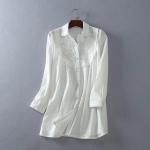 P67451 เสื้อแฟชั่น คอปกแขนยาว ผ้าฝ้ายเนื้อดีแต่งงานปักหน้าอก