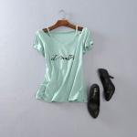 P46108 เสื้อยืดคอวีแขนสั้น ผ้ายืดเนื้อดีสกรีนอักษร สี เขียว