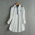 P58612 เสื้อเชิ้ตตัวยาว ผ้าฝ้ายเนื้อดีปกเชิ้ต สีขาว