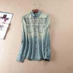 P21914 เสื้อเชิ้ตแขนยาว ผ้ายีนส์เนื้อดี ปักหน้าอก สีฟ้า