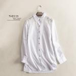 P25731 เสื้อเชิ้ตตัวยาว ผ้าฝ้ายเนื้อดี สีขาว ตัดต่อผ้าลูกไม้