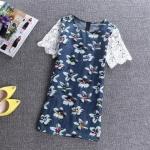 pr1259 เสื้อแฟชั่นตัวยาว ผ้ายีนส์เนื้อดีสีน้ำเงินพิมพ์ลายดอกไม้ แต่งด้วยเพชรหลากสี แขนลูกไม้