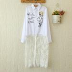 P20913 เสื้อเชิ้ตทรงโอเวอร์ไซส์ ผ้าฝ้ายเนื้อดี สีขาว ชายล่างต่อลูกไม้