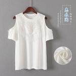 P56111 เสื้อยืดทรงปล่อย เปิดไหล่ ผ้ายืดเนื้อนิ่มแต่งลูกไม้ สีขาว