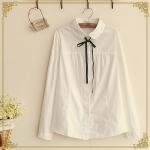 pre818 (preorder) เสื้อเชิ้ตแขนยาวผูกโบว์ ผ้าฝ้ายเนื้อดีสีขาว