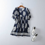 P59912 เสื้อแฟชั่นตัวยาว ผ้าฝ้ายเนื้อดีพิมพ์ลาย สีน้ำเงิน สีขาว