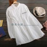 pre817 (preorder) เสื้อเชิ้ตตัวยาว ผ้าฝ้ายเนื้อดี สีขาว