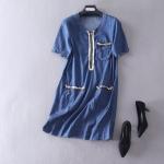P61021 ชุดเดรสทรงปล่อย ผ้ายีนส์เนื้อดี สีน้ำเงิน ซิบหน้า