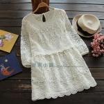 pre464 เสื้อแฟชั่นเกาหลี ผ้าแก้วปักลูกไม้ทั้งตัว แขนยาวสีขาวพร้อมซับใน size M L