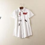 P477135 เสื้อเชิ้ตแขนสั้นตัวยาว ผ้าฝ้ายเนื้อดีสีขาว แต่งงานปัก