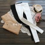 pre813 กางเกงขายาว ผ้าฝ้ายสแปนเดกซ์ สีขาว สีดำ M L XL