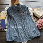 pre357 เสื้อแฟชั่นเกาหลี ผ้าฝ้ายเนื้อดี สีน้ำเงินลายจุด กระเป๋าหน้าแต่งงานปักรูปแมว