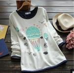 pre387 เสื้อแฟชั่นเกาหลีงานแพทเทิร์น ผ้ายืดคอทตอนเนื้อนิ่มแขนยาว สีเทาอ่อน พิมพ์ลายบอลลูนน่ารัก