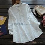 pre460 เสื้อแฟชั่นงานแพทเทิร์น ผ้าฝ้ายเนื้อดีสีขาว คอจีนแขนยาว เนื้อผ้าปักดอกไม้ size M L