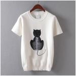 p94311 เสื้อคอกลมแขนสั้น ผ้าไหมพรมเนื้อดี ปักกำมะหยี่รูปแมว
