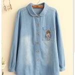 P10332 เสื้อเชิ้ตแขนยาว ผ้ายีนส์เนื้อดี ปักกระเป๋า สีฟ้า