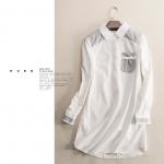 P25215 เสื้อคอปกตัวยาว ผ้าฝ้ายเนื้อดีสีขาว ตัดต่อผ้ายืดสีเทา